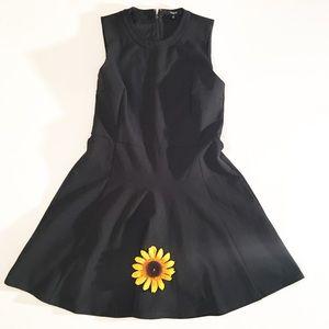 Madewell solid black drop waist mini dress size 10